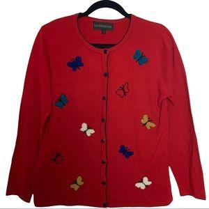 La Madonna Vintage Y2K Butterfly Red Buton Front Cardigan Size Medium